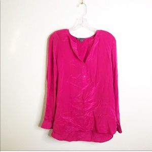 Vince Loose Fitted Silk Blouse In Fuchsia-sz 8
